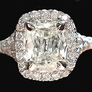 3.76 ct. cushion center halo diamond engagement